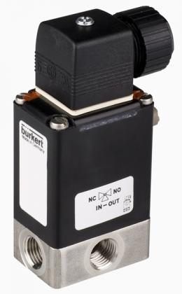 Двухходовой или трехходовой соленоидный клапан тип 0330 производитель Burkert (Германия),  Ду 3-5 мм, давление 0-10 бар (снят с производства)